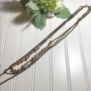 J crew long chain rose toned necklace